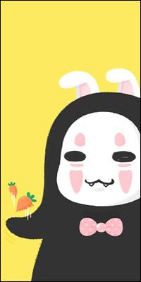 Аватар вконтакте Безликий / No Face из аниме Sen to Chihiro no kamikakushi / Унесенные призраками с кроличьими ушками и зубами