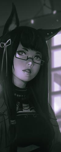 Аватар вконтакте Длинноволосая девушка с лисичьими ушками, by Koyorin