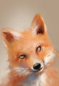 Аватар вконтакте Рыжая лисичка на сером фоне, by BisBiswas