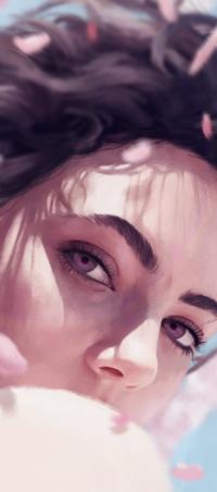 Аватар вконтакте Темноволосая девушка под лепестками сакуры, by ArthurHenri