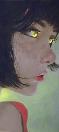 Аватар вконтакте Темноволосая девушка в профиль с желтыми глазами, by AugustoCasarin