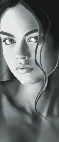 Аватар вконтакте Черно-белый рисунок девушки, by g017