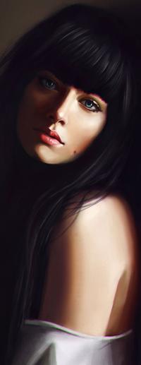 Аватар вконтакте Голубоглазая девушка с длинными черными волосами, by Justb1aze