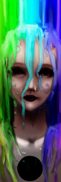 Аватар вконтакте Черноглазая девушка под разноцветными красками, by maakurika