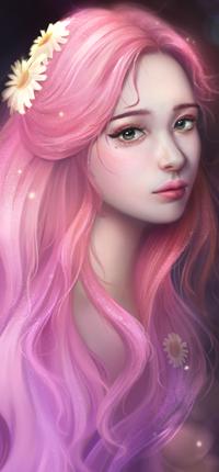 Аватар вконтакте Девушка с длинными розовыми волосами украшенными ромашками, by TinyTruc
