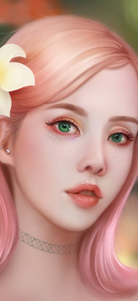 Аватар вконтакте Зеленоглазая девушка с розовыми волосами и чокером на шее на размытом фоне, by TinyTruc