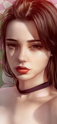 Аватар вконтакте Длинноволосая девушка с черной тканью на шее, by Raphire