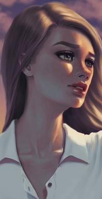 Аватар вконтакте Светловолосая девушка на фоне неба, by Hibisko
