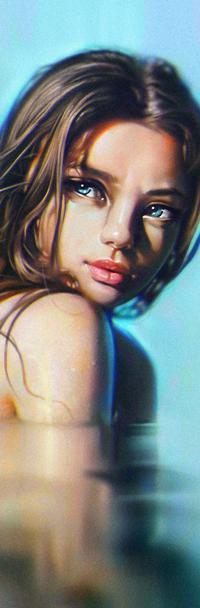 Аватар вконтакте Голубоглазая девушка в воде, by ReneGorecki