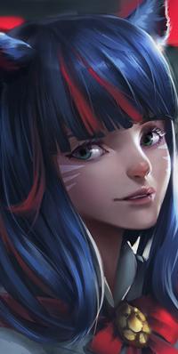 Аватар вконтакте Девушка с кошачьими ушками, синими волосами и красными прядями в челке, и украшением вокруг шеи, by ADPong