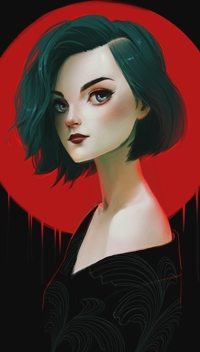 Аватар вконтакте Девушка на фоне красного круга, by Renee Chio