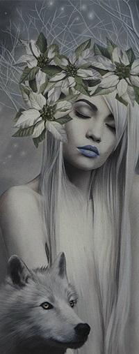 Аватар вконтакте Девушка в венке с закрытыми глазами и рядом с ней волк, by Brita Seifert