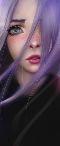 Аватар вконтакте Голубоглазая девушка с длинными сиреневыми волосами, by Lolliedrop