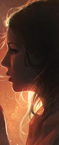 Аватар вконтакте Девушка в профиль с дымом изо рта, by GUWEIZ