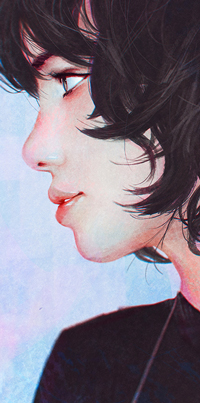 Аватар вконтакте Темноволосая девушка в профиль, by GUWEIZ
