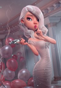 Аватар вконтакте Девушка с пистолетом в белом платье, by Carlos Ortega Elizalde
