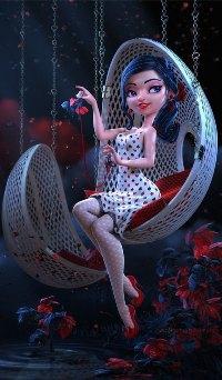 Аватар вконтакте Девушка в подвесном кресле с цветком в руках, by Carlos Ortega Elizalde