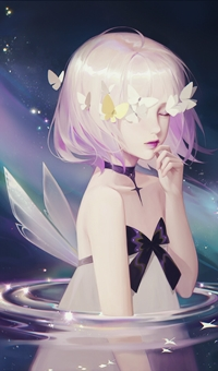 Аватар вконтакте Девочка-фея в белом платье с бантиком, стоит в воде, с бабочками на голове, by Gin
