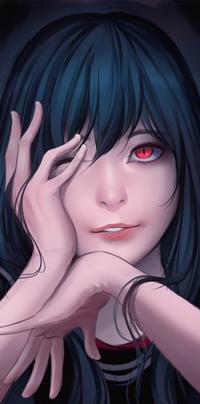 Аватар вконтакте Красноглазая девушка с руками у лица, by Riief
