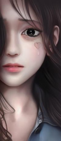 Аватар вконтакте Грустная азиатская девушка с сердечком на щеке, by lerinaV