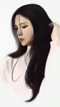 Аватар вконтакте Темноволосая азиатская девушка в розовой свитере, by FUNKYMONKEY1945