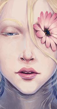Аватар вконтакте Светловолосая и голубоглазая девушка в воде с цветком на глазу, by EshiraArt