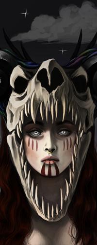 Аватар вконтакте Рыжеволосая голубоглазая девушка с черепом, by Frozelz