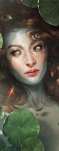 Аватар вконтакте Рыжеволосая девушка с веснушками с рыбками и с кувшинками в воде, by Charlie-Bowater