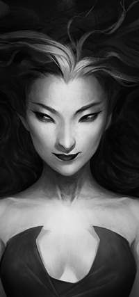 Аватар вконтакте Черно-белый рисунок девушки, by Charlie-Bowater