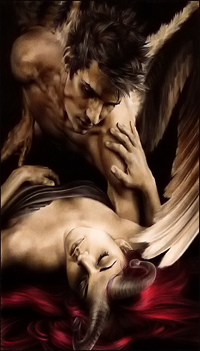 Аватар вконтакте Мужчина ангел склонился над девушкой демоном
