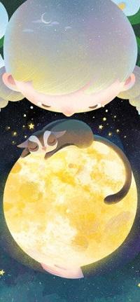 Аватар вконтакте Мальчик смотрит на планету, где спит кошка, by minayuyu