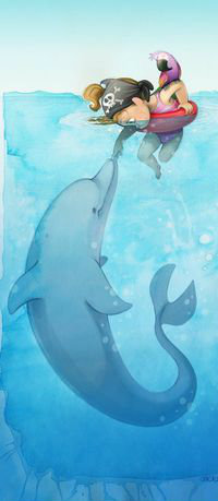 Аватар вконтакте Девочка с дельфином и попугаем