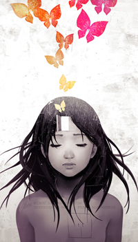 Аватар вконтакте Девушка с дверцей во лбу из которой вылетают бабочки