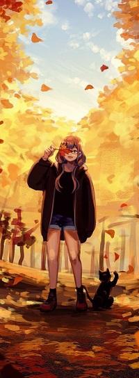 Аватар вконтакте Девочка с осенним листочком в руке стоит рядом с кошкой
