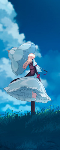 Аватар вконтакте Юкари Якумо / Yukari Yakumo из аниме Мечты летних дней / Touhou Niji Sousaku Doujin Anime: Musou Kakyou с зонтом стоит на фоне неба, art by Garnet