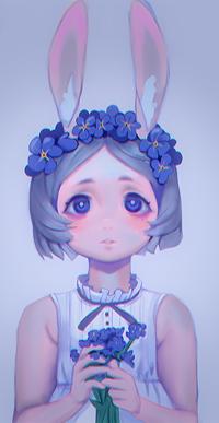 Аватар вконтакте Девочка с кроимыми ушками с незабудками, by Luyumi
