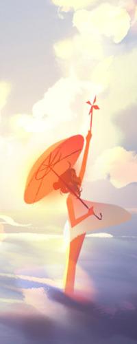 Аватар вконтакте Девочка с зонтом и игрушечной мельницей в руках, art by Jenny Yu