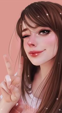 Аватар вконтакте Подмигивающая длинноволосая девушка показывая знак V / Ви, by taozipie