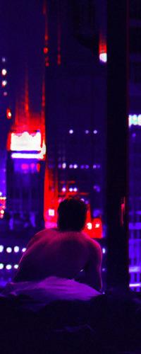 Аватар вконтакте Мужчина смотрит на ночной город, art by Abrar Khan