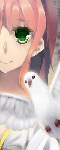 Аватар вконтакте Милая девушка и голубь, art by Purikko