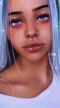 Аватар вконтакте Голубоглазая девушка с длинными голубыми волосами в белой майке, by taozipie