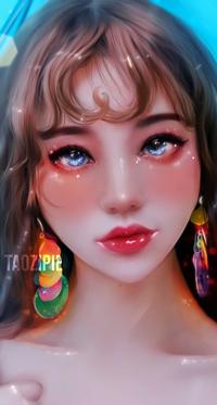 Аватар вконтакте Голубоглазая девушка с цветными серьгами, by taozipie