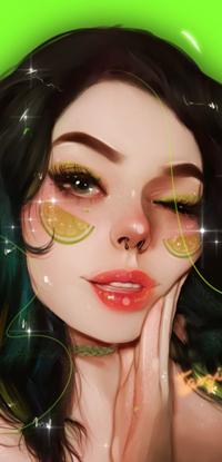 Аватар вконтакте Подмигивающая темноволосая девушка с дольками лайма на щеках, by taozipie