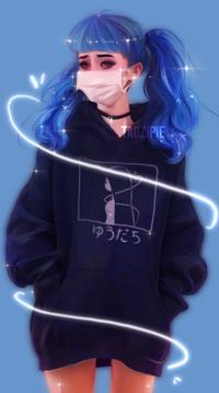 Аватар вконтакте Девушка с синими хвостиками, в черной толстовке и белой медицинской маске, by taozipie