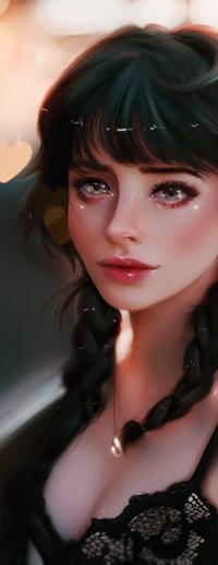 Аватар вконтакте Девушка с косичками на фоне сердец, by taozipie
