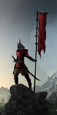 Аватар вконтакте Самурай в доспехах со знаменем стоит на большом камне на фоне серого неба, by Tacosauce