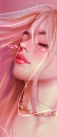 Аватар вконтакте Розоволосая девушка с закрытыми глазами, by taozipie