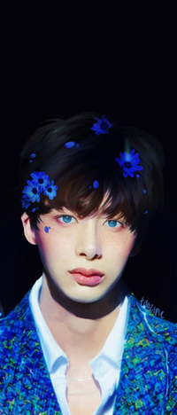 Аватар вконтакте Голубоглазый парень в синем костюме из цветов, и на голове, by taozipie