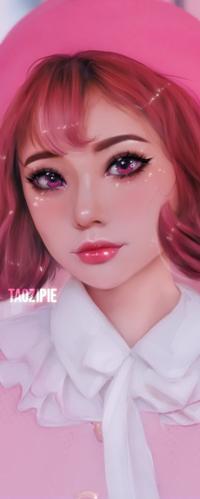 Аватар вконтакте Рыжеволосая девушка в розовой шляпке, by taozipie
