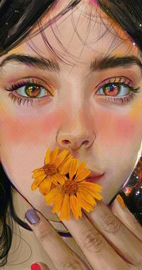Аватар вконтакте Темноволосая девушка с желтыми цветами у губ, by mazepla